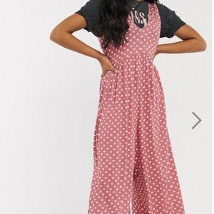 ASOS DESIGN curved smock jumpsuit in polka dot